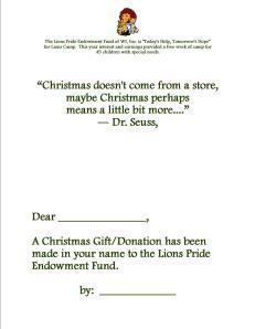 Christmas Donation Card