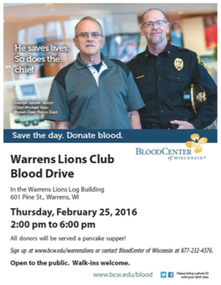 Warrens Lions Club Blood Drive