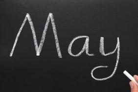 May Chalkboard Writing