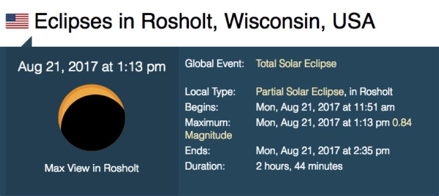 Rosholt Eclipse