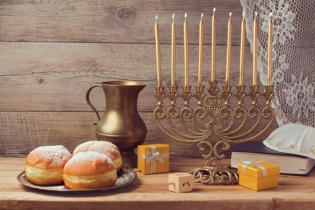 Jewish holiday hanukkah celebration with vintage menorah