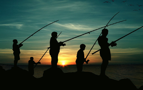Family Fishing at Sunset